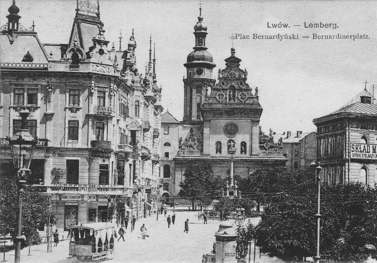 Lviv/Lwow/Lemberg, Bernardinski trg (razglednica iz leta 1896)